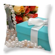 Little Blue Gift Box With Pearls And Flowers Throw Pillow