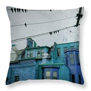 Little Blue Houses Throw Pillow