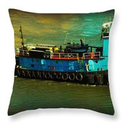 Little Blue Tug - New York City Throw Pillow
