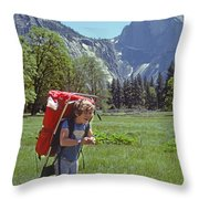 Mp-441-little Boy Big Pack  Throw Pillow