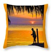 Little Boy Fishing Caye Caulker Belize Throw Pillow