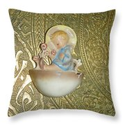 Newborn Boy In The Baptismal Font Sculpture Throw Pillow