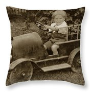 Little Boy In Toy Fire Engine Circa 1920 Throw Pillow