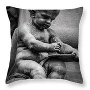 Little Boy Made Of Stone Throw Pillow