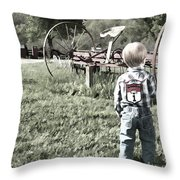 Little Boy On Farm Throw Pillow