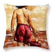 Little Boy On The Beach II Throw Pillow