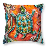 Little Brother Turtle II Throw Pillow