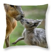 Little Cavy With Mother Throw Pillow