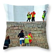 Little Children Climbing Steps Of Lutheran Cathedral Of Helsinki-finland Throw Pillow