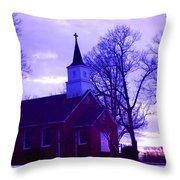 Little Church At Night Throw Pillow