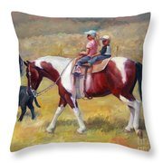 Little Cowboys Of Ruby Valley Western Art Cowboy Painting Throw Pillow