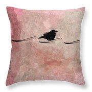 Little Crow In The Pink Throw Pillow