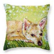 Little Dog Named Fern Throw Pillow
