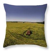 Little Firetruck In A Big Field Throw Pillow