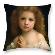 Little Girl And Her Prayer Throw Pillow