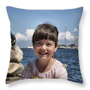 Little Girl By The Little Mermaid Throw Pillow