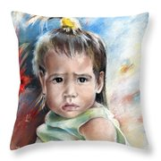 Little Girl From Tahiti Throw Pillow