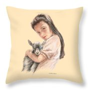 Little Girl Holding A Baby Goat Throw Pillow