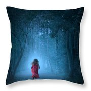 Little Girl In Red Dress Running In A Misty Forest Throw Pillow