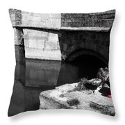 Little Girl In Red Shoes Throw Pillow