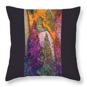 Little Girl On A Rock Throw Pillow