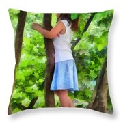 Little Girl Playing In Tree Throw Pillow