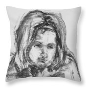 Little Girl With Hairband Throw Pillow