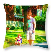 Little Girls First Bike Lesson With Dad Beautiful Tree Lined Street Summer Scene Carole Spandau  Throw Pillow