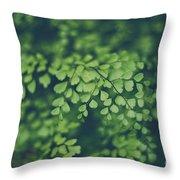 Little Green Leaves Throw Pillow
