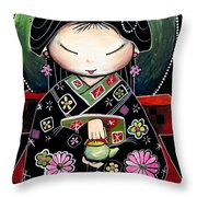 Little Green Teapot Throw Pillow