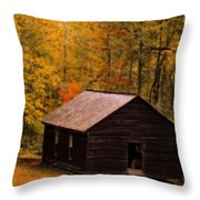 Little Greenbrier Schoolhouse In Autumn  Throw Pillow