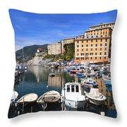 little harbor in Camogli Throw Pillow