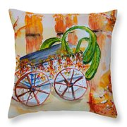 Little Harvest Wagon Throw Pillow