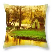 The Geese Have A Little House By The Flood Throw Pillow