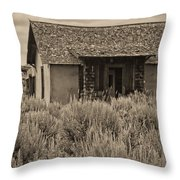 Little House In The Sage Bw Throw Pillow