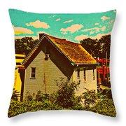 Little House - The World Around New York City Throw Pillow