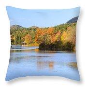 Little Long Pond And Bubbles Mount Desert Island Maine Throw Pillow