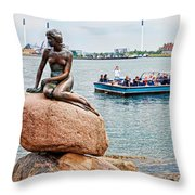 Little Mermaid Statue With Tourboat Throw Pillow