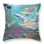Little Mermaids And Dolphin Throw Pillow