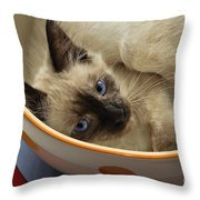 Little Miss Blue Eyes Throw Pillow by Andee Design
