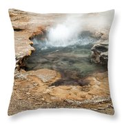 Little Pool Geyser At Black Sands Geyser Basin Throw Pillow
