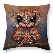 Little Rainbow Flower Owl Throw Pillow