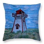 Little Red And White Lighthouse Throw Pillow