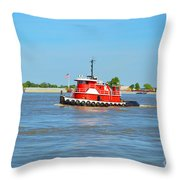 Little Red Boat On The Mighty Mississippi Throw Pillow