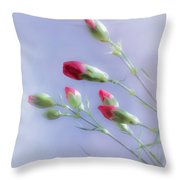 Little Red Carnations In The Sun Throw Pillow