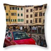 Little Red Fiat Throw Pillow