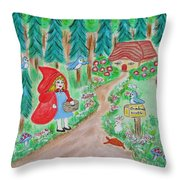 Little Red Riding Hood With Grandma's House On Mailbox Throw Pillow
