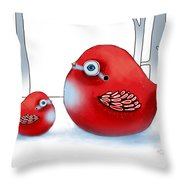 Little Red Robins Throw Pillow