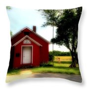 Little Red School House Throw Pillow by Kathleen Struckle