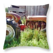 Little Red Tractor Throw Pillow